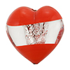 Murano Glass Bead Windows Heart 28mm Opaque Red Silver Foil