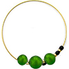 Murano Glass Bracelet, Memory Wire Gold Tone, 3 Beads Emerald