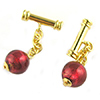 Cufflinks with Rubino, Pink 24kt Gold Foil Murano Glass Beads