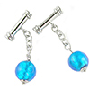 Aqua Silver Foil Beaded Cufflinks, Murano Glass Beads