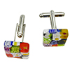 Fused Murano Glass Cufflinks Multi Millefiori 15mm, Pair