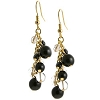 Grappolo Earrings - Black, Clear with Silver Tone Earwires