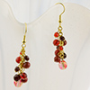 Grappolo Earrings - Red, Black and Gold Tone