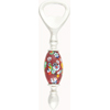 Bottle Opener with Lampwork Murano Glass Bead, Oval Dark Red with Millefiori