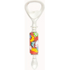 Bottle Opener with Lampwork Murano Glass Bead, Tube Light Red with Millefiori