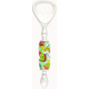 Bottle Opener with Lampwork Murano Glass Bead, Tube Green with Millefiori