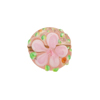 Pink Fiorato Lampwork Murano Glass Bead, 15mm Disc
