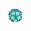 Aqua Fiorato Lampwork Murano Glass Bead, 15mm Disc