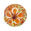 Topaz Fiorato Lampwork Murano Glass Bead, 25mm Disc