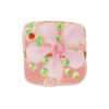 Pink Fiorato Lampwork Murano Glass Bead, Square, 20mm
