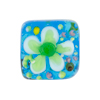 Aqua Fiorato Lampwork Murano Glass Bead, Square, 20mm