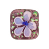 Amethyst Fiorato Lampwork Murano Glass Bead, Square, 20mm