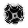 Black and White Lampwork Large Murano Glass Bead