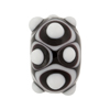 Murano Glass Lampwork Bead Rondel Big Dots 16x20 Black