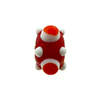 Murano Glass Lampwork Bead Squares Stacked Dots 8X16, Red and White