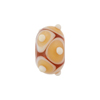 Murano Glass Lampwork Bead Rondel Stacked Dots 15x10 Topaz
