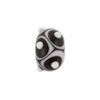 Murano Glass Lampwork Bead Rondel Stacked Dots 15x10 Black