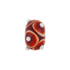 Murano Glass Lampwork Bead Rondel Stacked Dots 15x10 Red
