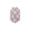 Murano Glass Lampwork Bead Rondel Stacked Dots 20x12 Pale Amethyst and White