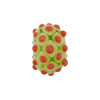 Murano Glass Lampwork Bead Rondel Stacked Dots 20x12 Peridot & Coral