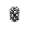 Murano Glass Lampwork Bead Rondel Stacked Dots 20x12 Black
