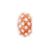 Murano Glass Lampwork Bead Rondel Stacked Dots 20x12 Red & White