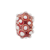 Murano Glass Lampwork Bead Rondel Stacked Dots 20x12 Red
