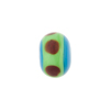 Murano Glass Bead Lampwork Wheel Aqua & Greem Dots 8x14