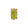 Murano Glass Lampwork Bead Rondel Stacked Dots 15x8 Peridot & Coral