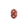 Murano Glass Lampwork Bead Rondel Stacked Dots 15x8 Opaque Red