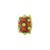 Murano Glass Lampwork Bead Rondel Stacked Dots 8X13, Orange & Green