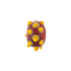 Murano Glass Lampwork Bead Rondel Stacked Dots 8X13, Red & Orange