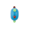 Murano Glass Bead Lampwork Wheel Blue Multi Dots 8x14