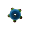 Murano Glass Bead Lampwork Wheel Opaque Aqua w/ Red Multi Dots 8x14