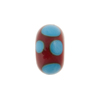Murano Glass Bead Lampwork Wheel Blue & Red Dots 8x14