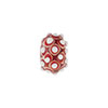 Murano Glass Lampwork Bead Rondel Stacked Dots 8X13, Red