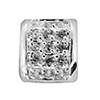 Oval Spacer Silver Plate 10x6mm with Pave Crystal Inset