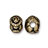 Brass Oxidized Plated Pewter Large Hole Lion Euro Bead