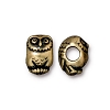 Brass Oxidized Plated Pewter Large Hole Owl Euro Bead