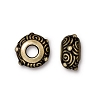 Brass Oxidized Plated Pewter Large Hole Spiral Euro Bead