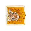 Topaz Gold and Siliver Foil Luna Square 20mm, Murano Glass Bead