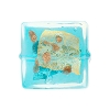 Aqua Gold and Silver Foil Luna Square 20mm, Murano Glass Bead