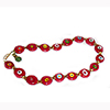 Red Disc Millefiori Murano Glass Bead Necklace 16 Inches