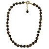 Black Aventurina Necklace 16 Inches w/ 1 1/4 Inch Extender, Gold Tone Clasp and Bead Dangle