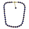 Cobalt Blue Aventurina Necklace 16 Inches w/ 1 1/4 Inch Extender, Gold Tone Clasp and Bead Dangle