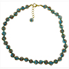 Light Aqua Aventurina  Necklace 16 Inches w/1 1/4 Inch Extender, Gold Tone Clasp Authentic Murano Glass Beaded