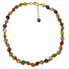 Multi Colors  Necklace 16 Inches w/ 2 Inch Extender, with Red Stringing Gold Tone Clasp Authentic Murano Glass Beaded