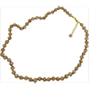 Yellow with Aventurina Authentic Murano Glass Beaded Necklace 26 Inches with 2 Inch Extender, Gold Tone Clasp