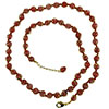 Red with Aventurina Authentic Murano Glass Beaded Necklace 26 Inches with 1 1/4 Inch Extender, Gold Tone Clasp