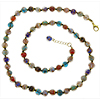 Multi Colors with Black Thread Authentic Murano Glass Beaded Necklace 26 Inches with 1 1/4 Inch Extender, Gold Tone Clasp